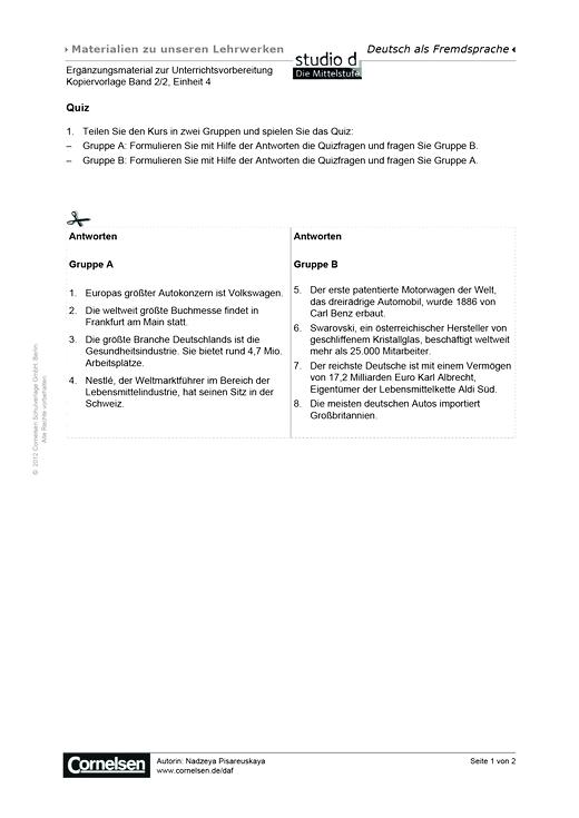Studio: Die Mittelstufe - Unterrichtsvorbereitung B2/2, Einheit 4 - Arbeitsblatt - B2: Band 2