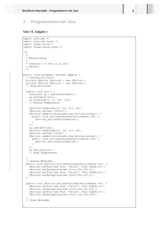 Berufliche Informatik - Berufliche Informatik Java - Lösungen Kapitel 3 - Lösungen