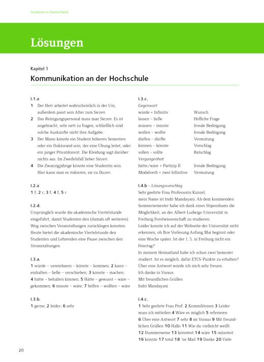 Lösungsschlüssel Kommunikation an der Hochschule - Studieren in Deutschland - Lösungen