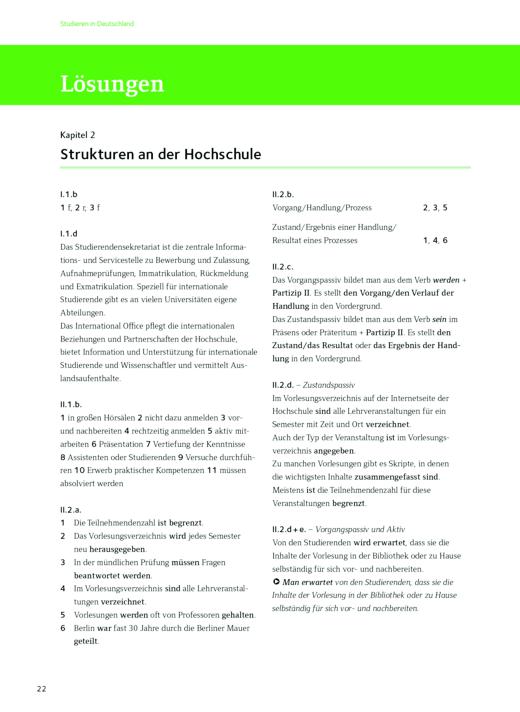 Lösungsschlüssel Strukturen an der Hochschule - Studieren in Deutschland - Lösungen