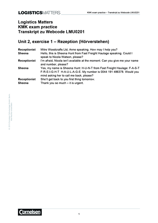 Logistics Matters – KMK exam practice Transkript zu Webcode LMU0201 - Lösungen - Webshop-Download