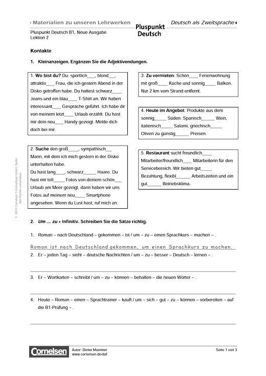 Pluspunkt Deutsch - Pluspunkt Deutsch Neue Ausgabe, Band B1, Lektion 2: Kontakte - Arbeitsblatt - B1: Gesamtband