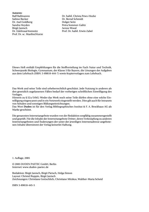 """Inhaltsverzeichnis und Stoffverteilungsplan """"Natur und Technik"""", Gymnasium, Bayern, 5. Schuljahr - Stoffverteilungsplan - Webshop-Download"""
