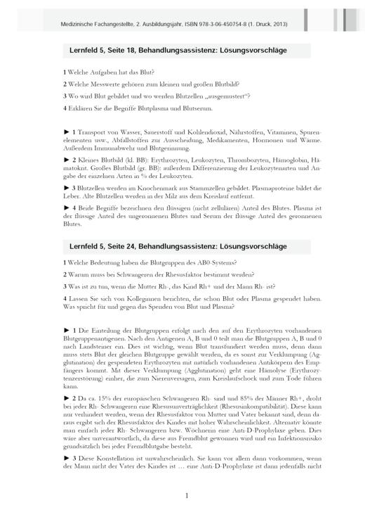 Medizinische Fachangestellte - MFA, 2. Ausbildungsjahr, NB 2013, 1. Druck - Lösungen - 2. Ausbildungsjahr
