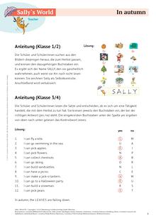 Sally - In autumn - Arbeitsblatt