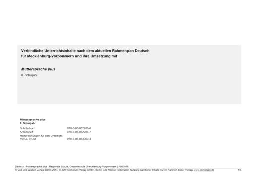 Muttersprache plus - Synopse für Mecklenburg-Vorpommern - 8. Schuljahr