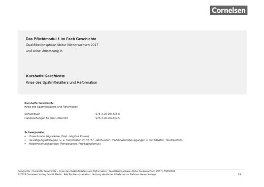 Kurshefte Geschichte - Krise des Spätmittelalters und Reformation - Stoffverteilungsplan / Semesterverlaufsplan