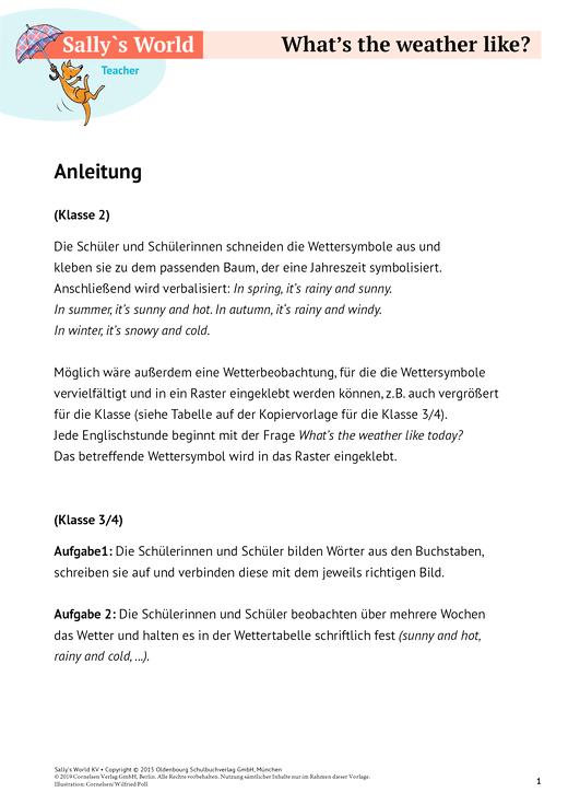 Sally Weather Arbeitsblatt Webshop Download Cornelsen