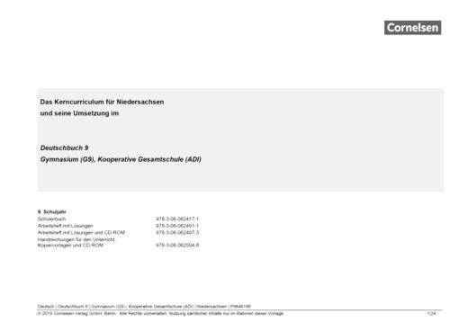Deutschbuch Gymnasium - Synopse - 9. Schuljahr