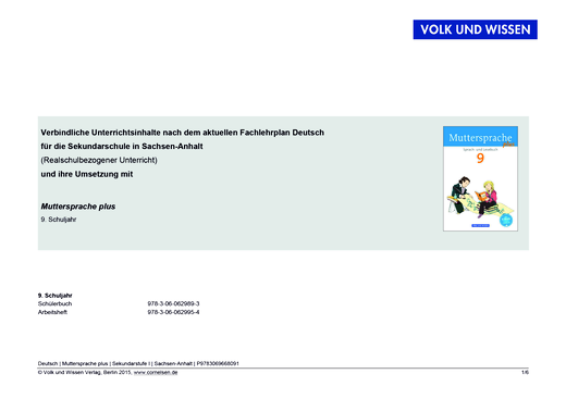 Muttersprache plus - Sachsen-Anhalt - Sekundarschule -  Realschulbezogener Unterricht - Synopse - 9. Schuljahr