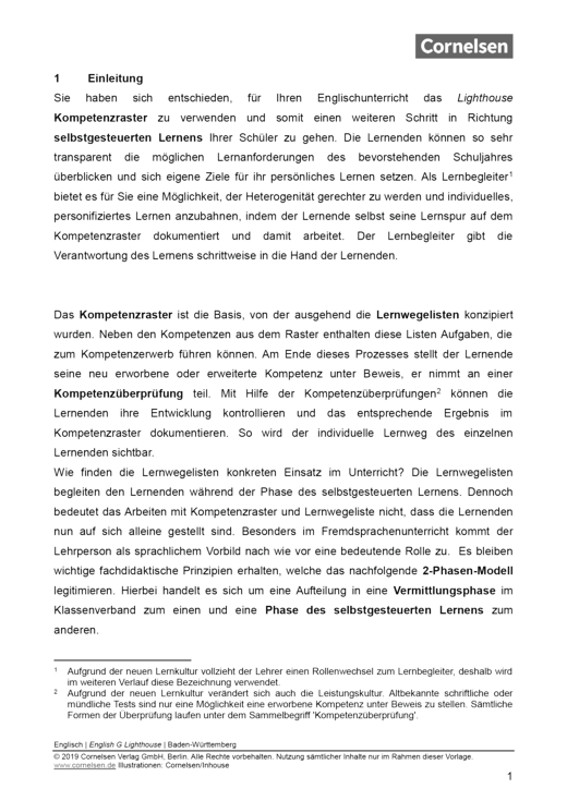 English G Lighthouse - Lehrerkompass - Kompetenzverteilung