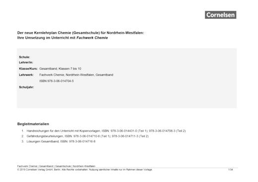 Fachwerk Chemie - Der neue Kernlehrplan Chemie (Gesamtschule) für Nordrhein-Westfalen – Gesamtband - Stoffverteilungsplan - Gesamtband: 7.-10. Schuljahr