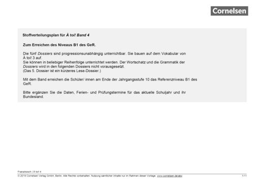 À toi ! - À toi ! 4 Stoffverteilungsplan zum Erlangen des Niveaus B1 - Stoffverteilungsplan