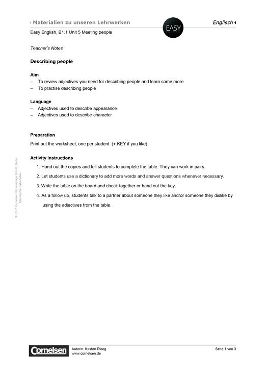 easy english easy english b1 1 unit 5 describing people arbeitsblatt webshop download. Black Bedroom Furniture Sets. Home Design Ideas