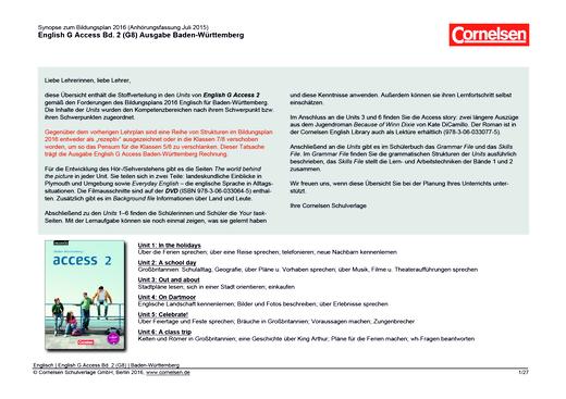 English G Access - English G Access 2 - Planungshilfe für ein schulinternes Curriculum Baden-Württemberg – zum Bildungsplan 2016 - Synopse - Webshop-Download