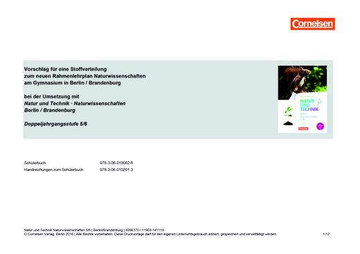 Natur und Technik - Naturwissenschaften: Neubearbeitung - Vorschlag zur Stoffverteilung am Gymnasium mit NATUR UND TECHNIK, Naturwissenschaften 5/6 - Stoffverteilungsplan - 5./6. Schuljahr: Naturwissenschaften