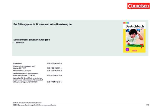 Deutschbuch - Planungshilfe für Bremen - 7. Schuljahr