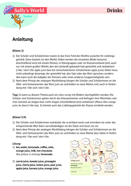 Sally Drinks Arbeitsblatt Webshop Download Cornelsen