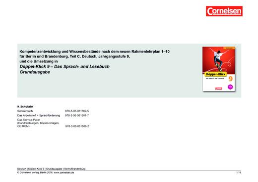 Doppel-Klick - Doppel-Klick Grundausgabe 9 / Planungshilfe für Berlin und Brandenburg - Planungshilfe - 9. Schuljahr