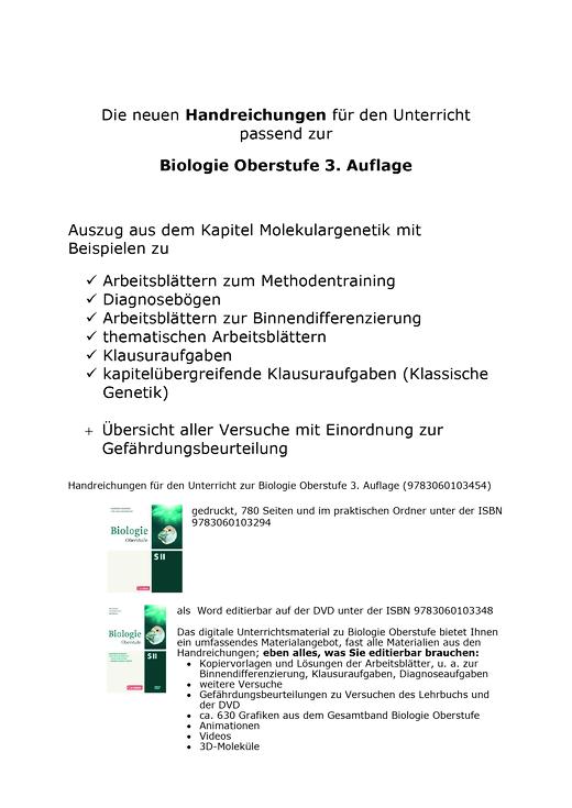 Biologie Oberstufe (3. Auflage) - Auszug aus dem Kapitel Molekulargenetik zur Biologie Oberstufe - Arbeitsblatt - Gesamtband