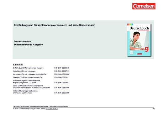 Deutschbuch - Planungshilfe für Mecklenburg-Vorpommern - 9. Schuljahr