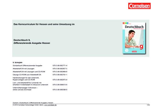 Deutschbuch - Planungshilfe - 9. Schuljahr