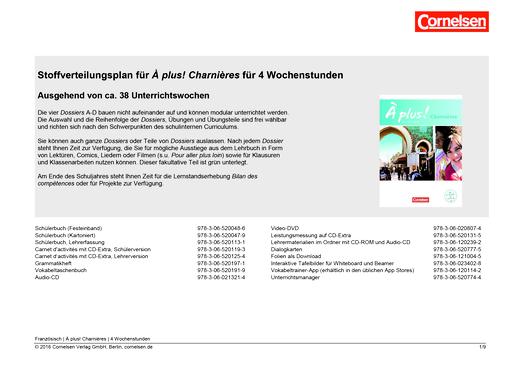 À plus ! - À plus ! Nouvelle Edition Charnières Stoffverteilungsplan für 4 Wochenstunden - Stoffverteilungsplan - Band 4