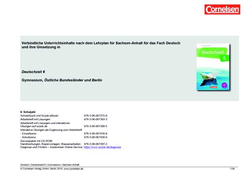 Deutschzeit - Synopse für Sachsen-Anhalt - 6. Schuljahr