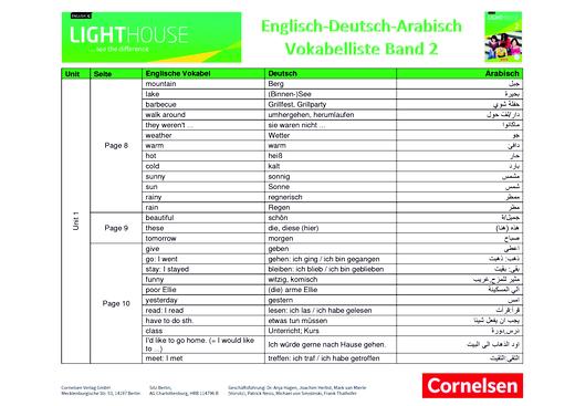 English G Lighthouse - Wortliste - Band 2: 6. Schuljahr