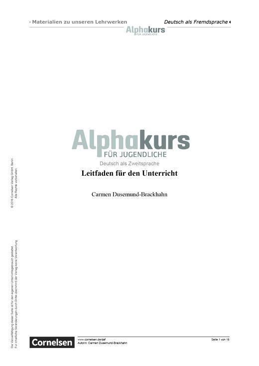 Alphakurs für Jugendliche - Alphakurs für Jugendliche. Leitfaden für den Unterricht - Handreichung
