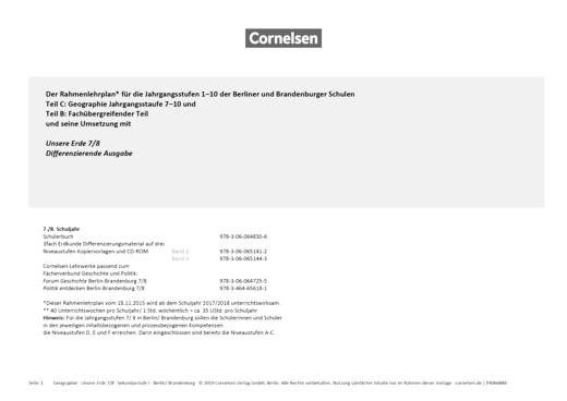 Unsere Erde - Unsere Erde Differenzierende Ausgabe 7/8 – Planungshilfe für Berlin und Brandenburg - Planungshilfe - 7./8. Schuljahr