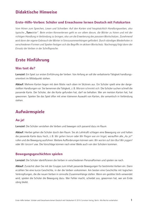 Deutsch lernen mit Fotokarten - Sekundarstufe I/II und Erwachsene - Didaktische Hinweise SEK Erste-Hilfe-Verben - Didaktische Fachinfo