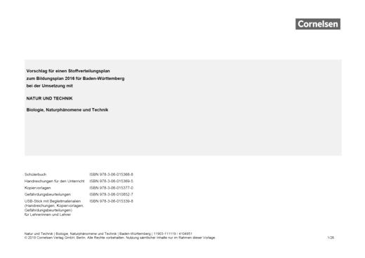 Natur und Technik - Naturwissenschaften: Neubearbeitung - Stoffverteilungsplan zu Natur und Technik – Biologie, Naturphänomene, Technik - Stoffverteilungsplan - 5./6. Schuljahr: Biologie, Naturphänomene und Technik