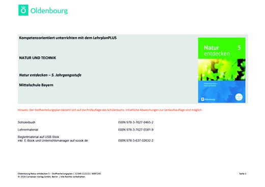 Natur entdecken - Neubearbeitung - Stoffverteilungsplan zu Natur Entdecken 5 (LehrplanPlus ) - Stoffverteilungsplan - Webshop-Download