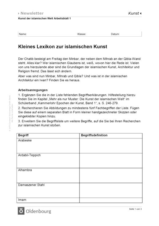 Kammerlohr - Kleines Lexikon zur islamischen Kunst - Arbeitsblatt