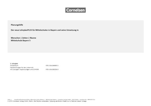 Menschen-Zeiten-Räume - Planungshilfe zu Menschen-Zeiten-Räume – Mittelschule Bayern, Band 5 (LehrplanPLUS) - Planungshilfe - Webshop-Download