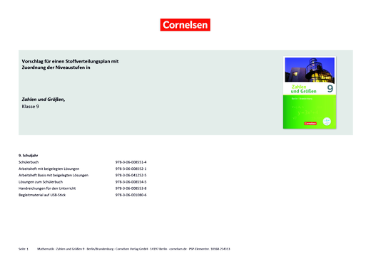 Zahlen und Größen - Vorschlag für einen Stoffverteilungsplan mit Zuordnung der Niveaustufen für Berlin-Brandenburg in Zahlen und Größen 9 - Stoffverteilungsplan - 9. Schuljahr