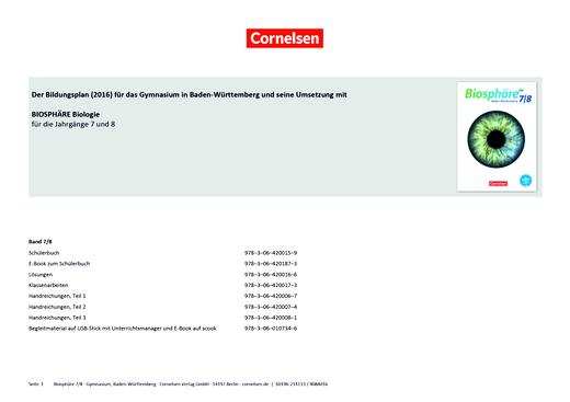 Biosphäre Sekundarstufe I - Schulcurriculum für Biologie für das 7./8. Schuljahr in Baden-Württemberg - Stoffverteilungsplan - 7./8. Schuljahr