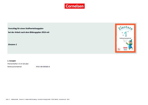 Einstern - Einstern 1 – Stoffverteilungsplan zum Bildungsplan Baden-Württemberg - Stoffverteilungsplan - Band 1