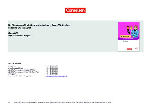 Doppel-Klick - Doppel-Klick Baden-Württemberg Differenzierende Ausgabe 3 / Kompetenzraster für Klasse 7 - Synopse - Band 3: 7. Schuljahr