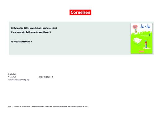 Jo-Jo Sachunterricht - Jo-Jo Sachunterricht 3 – Synopse zum Bildungsplan Baden-Württemberg - Synopse - Webshop-Download