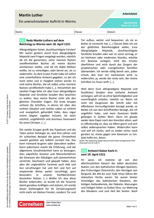 Martin Luther - Ein unerschrockener Auftritt in Worms - Arbeitsblatt - Webshop-Download