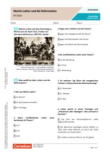Quiz/Fragebogen - Martin Luther und die Reformation - Arbeitsblatt