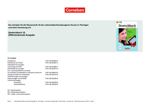 Deutschbuch - Deutschbuch Differenzierende Ausgabe 10 – Planungshilfe Lehrplan Thüringen - Planungshilfe - 10. Schuljahr
