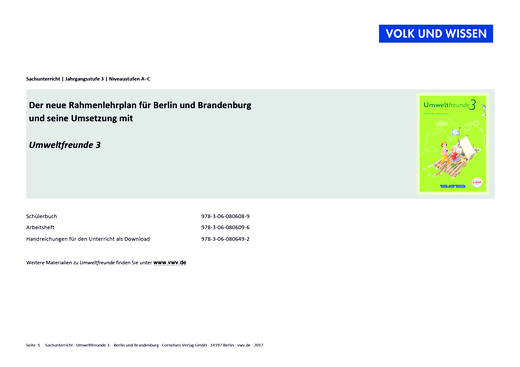 Umweltfreunde - Synopse zum neuen Rahmenlehrplan: Umweltfreunde 3 - Stoffverteilungsplan - 3. Schuljahr