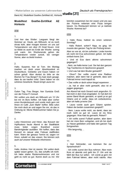 "Studio [21] - Modelltest ""Goethe Zertifikat A2"" – Hörtexte - Hörverstehen - A2: Gesamtband"