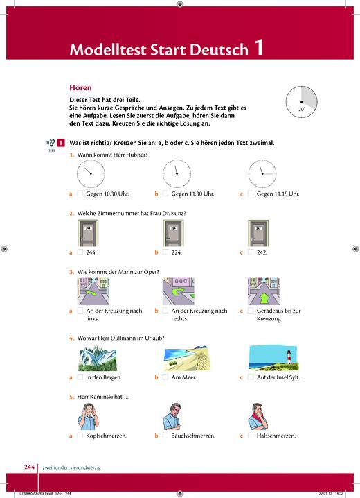 "Studio [express] - Modelltest ""Goethe-Zertifikat A1: Start Deutsch 1"" - Arbeitsblatt - Webshop-Download"