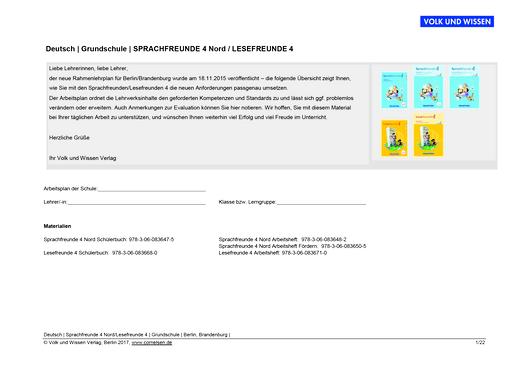 Sprachfreunde - Arbeitsplan Sprachfreunde und Lesefreunde - Klasse 4 - Synopse - 4. Schuljahr