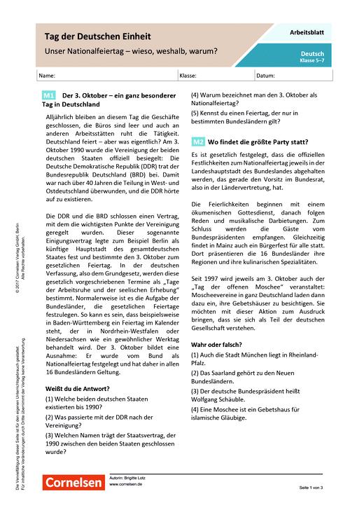 Tag der Deutschen Einheit Unser Nationalfeiertag - wieso, weshalb, warum? - Arbeitsblatt