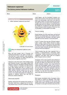 Halloween explained – The (hi)story behind Halloween traditions - Arbeitsblatt